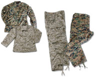 Marine Corps Style Digital Camo Battle Dress Uniform (BDU) Mystic Army Navy offers the Atlanco True-Spec brand of Marine Corps style digital woodland and desert pattern Battle Dress Uniforms (BDUs).