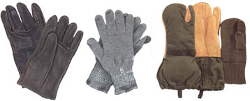 Gloves, Mittens, Scarves and Hand Warmers Keep your hands warm! Choose from D-3A's, Wool Glove Liners, USGI Gloves, and Thinsulate Gloves.