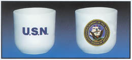 Navy Handleless Mugs These heavy duty 14oz. coffee mugs are made of vitreous china and are dish washer safe.  DO NOT MICROWAVE... 