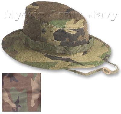 USGI Boonie hat made to Mil-Spec  MIL-H-44105B. Made of 100% Cotton.  Matching fabric neck cord with adjustable leather toggle. Propper e8629039944