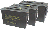 Ammunition Cans / Surplus Containers We carry a large variety of ammunition cans including 30 caliber cans, 50 caliber cans and 20mm cans. We also stock oversized medical transport containers.