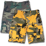 Military and Cargo  Shorts Camouflage BDU 6-Pocket Military Shorts by Rothco and Vintage Cargo Shorts by Rothco. Camouflage BDU and Vintage Cargo Shorts by Rothco