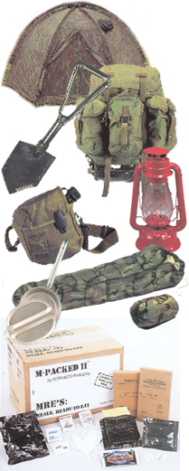 Camping, Tents, Camp Tools, Bedding & Outdoor Products Mystic Army Navy offers a complete line of products for outdoor activities ranging from flashlights and lanterns to Meals Ready to Eat(MREs). We stock military canteens and water purification products, camp furniture and a variety of blankets, sleeping bags and hammocks. Our line of tents and tarps, camouflage nets and mosquito bars have a number of uses. If you're digging a foxhole or just a fire pit, our military entrenching tools are what you need.