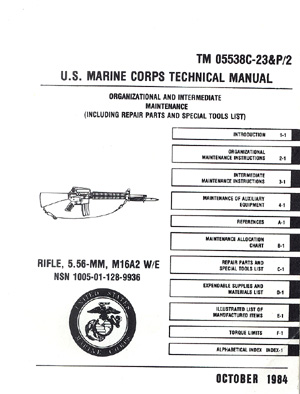 Us marine corps technical manual m16a2 rifle.